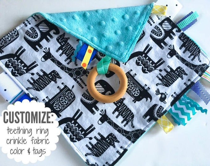 Baby Sensory Tag Blanket | Options: Natural Teething Ring, Crinkle Material, Color | Black and White Modern Jungle