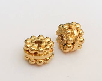 2 vermeil gold spacers rondelle beads granulated 5x7mm