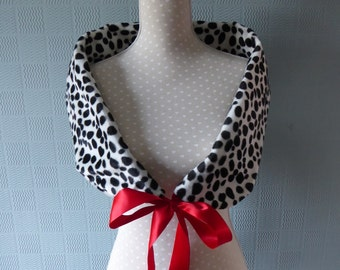 black and white spotted dalmatian print stole/shawl/scarf with red satin rbbon, for fancy dress costume