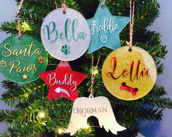 Personal custom name - Acrylic Glittered Christmas Bauble Decoration Personalised