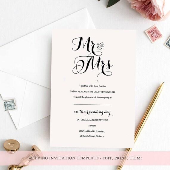 Wedding Invitation Template Set Printable Template Invitation
