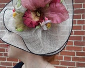 unusual kentucky derby fascinator hat with orchid flower FREE SHIPPING from RCMooreVintage formal hat for women