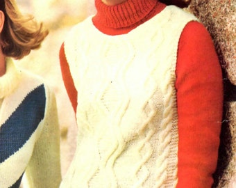 Womens Retro Irish Knit Shell and Turtleneck Pullover Vintage Knitting Pattern from the 60s
