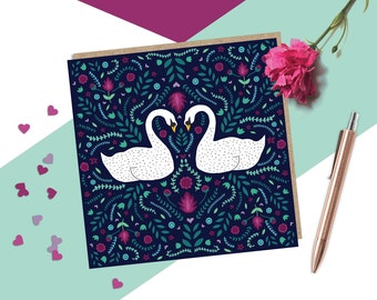 Swans Romantic Anniversary Card, Valentines Card, Folk Art Card, Cute Love Card, Cards for couples, Cards for her, Cards for him