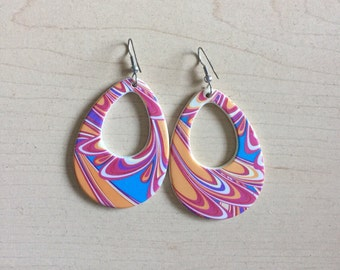 Retro 60's Mod Vintage Swirl Earrings 80's