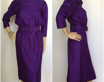 Late 1950s Early 1960s Purple Dress with Side Front Kick Pleat - True Vintage