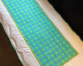 "Scalloped edge Table Runner//quilted//teal, purple, yellow, blue//reversible//22""X46""//"