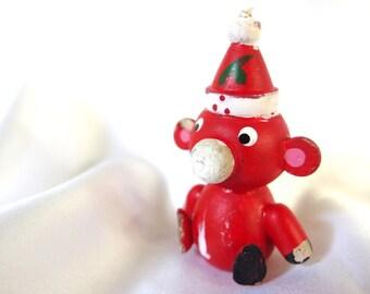 Vintage Wood Christmas Decoration, Red Pig Santa