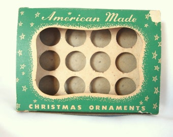 Vintage Empty Feather Tree Christmas Ornament Storage Box