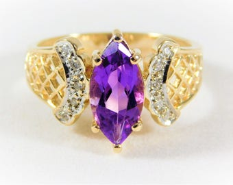 Vintage 14k Gold and Amethyst and Diamond Ring