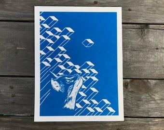 Cat Geometric Art Print 8.5 x 11 inches