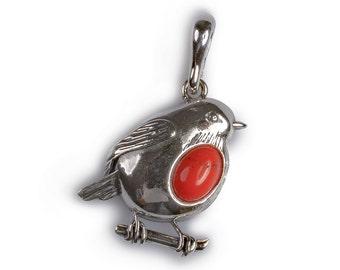 Small Coral and Silver Rockin' Robin Pendant with Silver Chain