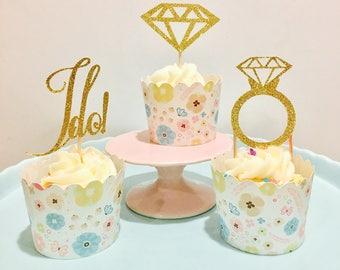 12ct engagement cupcake toppers, wedding cupcake toppers, bridal shower cupcake toppers