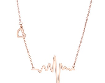 HeartBeat Necklace- Rose Gold Plated Heart Beat Necklace- 18 inches with a 2 inch extender- Trendy Heartbeat Necklace