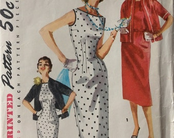 Simplicity 1117 misses' dress and jacket size 12 bust 30 vintage 1950's sewing pattern