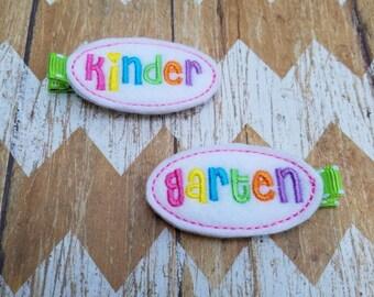 Kindergarten hair clips, back to school, school hair clips, girls hair clips, felt hair clips, back to school hair bows, clippie set