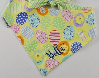 Decorated Easter Eggs Dog Bandana    Funny Bunnies Yellow Personalized Easter Pet Scarf    Personalized Puppy Gift by Three Spoiled Dogs