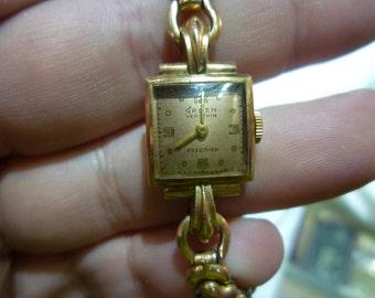 D20 Vintage 14K Rose Gold Gruen Veri-Thin 17 Jewel Women's Wrist Watch, Working.