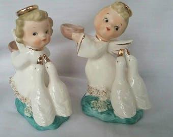 Vintage Angel Figurines, Cute Angels Feeding Geese, Japan