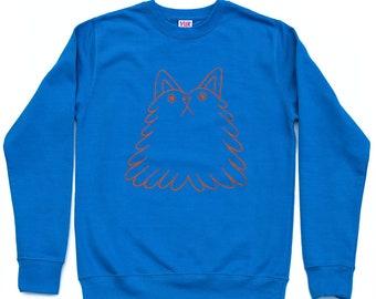 Blue dogcat sweatshirt, Cat jumper, Dog sweatshirt, funny mens sweatshirt, cool mens sweater, screen printed jumper, blue jumper