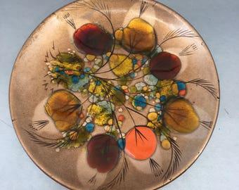 California Cloisonne Plate Enamel Copper by Landau Mid-Century Modern vintage