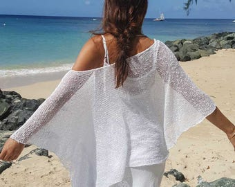 Beautiful flowy white knit shawl sweater, white slouchy sweater, ethereal shawl sweater, flowy white summer top, bridal cover up, 28 colours