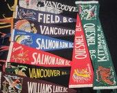 Vintage Felt Travel Pennants - British Columbia - Vancouver, Kitimat, Williams Lake, Salmon Arm, Field, Quesnel