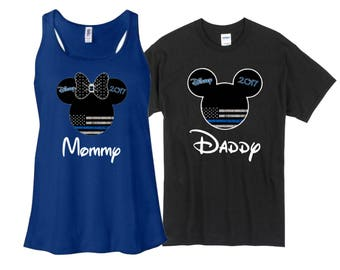 Disney Mickey and Minnie Thin Blue Line Flag, Protect and Serve, Family Vacation T-Shirt Disnyland Shirt, Disney Shirt, Disney Cruise,
