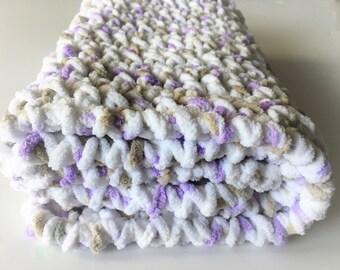 Lilac Baby Blanket, Crochet Baby Blankets, Newborn Baby Blanket, Car Seat Blanket, Stroller Blanket, Photo Prop, Baby Shower Gift, Bernat