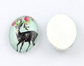 10 oval glass cabochons 18 x 13 mm, deer motif