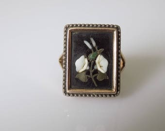 Georgian Turquoise Jet Gold Mourning ring