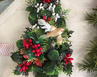 Vintage 1950's tree with greens and a felt bird door wall hanger with greens berries poinsettias
