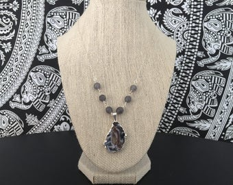 Agate and Jade Statement Necklace