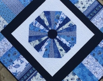 "Dresden quilt Blue and white quilt octagan Dresden pattern 40"" x 46"" Benartex fabrics quilted throw baby quilt"