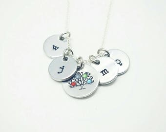 Family Tree Birthstone necklace* You choose up to 5 birthstones * Hand Made * Birthstone Crystals* Grandmother's Necklace *Mother's Necklace