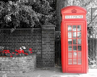 London Photography, Wall Art Print, Black White Red, Phone Booth, London Print, Photograph, Phone Box, British Decor, England Picture, Photo
