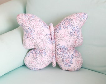 Cushion Butterfly pink white blue cotton 40x40cm
