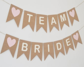 Team Bride Hen Party Banner, Bridal Shower, Rustic Bunting, Bride To Be, Personalised Banner