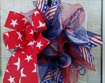 SALE 4th July Wreath, Patriotic Wreath, USA Wreath, America Wreath, Labor Day Wreath, Bow Wreath, Deco Mesh Wreath, Ribbon Wreath