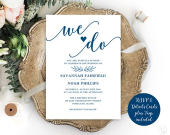 Navy Blue Modern Calligraphy Wedding Invitation, Printable Wedding Invitation Template, Minimalist, Editable Text, We Do VW11