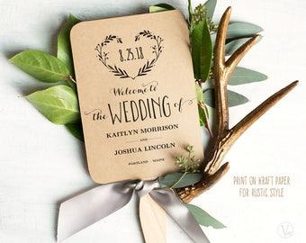 Wedding Fans, Printable Wedding Program Template, Wedding Fan Programs, Editable text, 5x7, Heart Wreath VW08