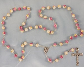 Pink & Gold Flower Rosary - Pink and Gold Flower Ceramic Beads - Mary Center Contains Soil from Jerusalem - Italian Silver Hearts Crucifix