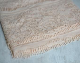 Peach Lace Wrap, Eyelash lace, Peach Pink Newborn Layering Lace