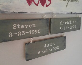 "Additional Small wooding blanks are 3"" x 11"". Color- Distressed Provence base and Antique White lettering."