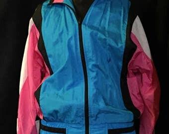 """1990's Women's jogging jacket, color blocked, blue pint & white, sz PM petite medium  32"""" waist unstretched"""
