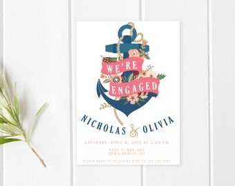 Engagement Party Invitation, We're Engaged, Nautical Engagement Party Invite, Anchor Engagement Party Invitation, Floral Engagement [189]
