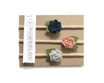 3 mini roses headbands - Navy and Peach