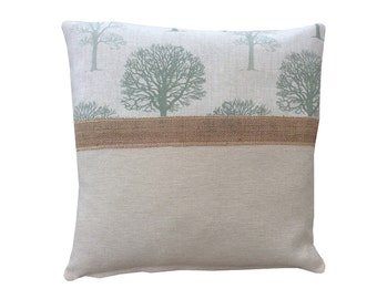 Beautiful Marson Tree design fabric Sage Green beige Laura Ashley trim hessian burlap made in Britain country  cushion cover pillow case