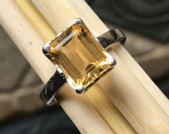 Natural Emerald Cut 4ct Golden Citrine 925 Sterling Silver Solitaire Ring sz 6.75