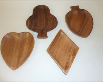 Vintage Wood Snack Bowls Card Suits Heart Diamond Club Spade Game Night Snack Trays Set of 4